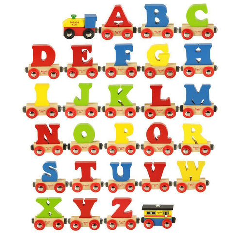 BigJigs Wooden Alphabet Train - Name Train - Natural Baby Shower