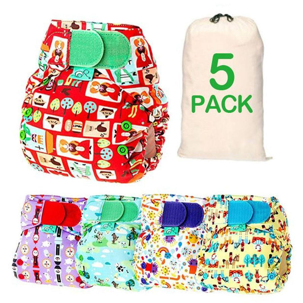 Nappy Packs - TotsBots EasyFit Binky - Nursery Print - 5 Pack