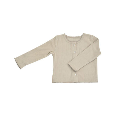 Pigeon Organics Pointelle Cardigan - Pebble-Cardigans- Natural Baby Shower