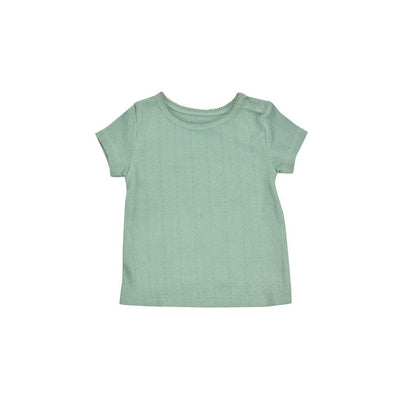 Pigeon Organics Pointelle T-Shirt - Turquoise-Short Sleeves- Natural Baby Shower