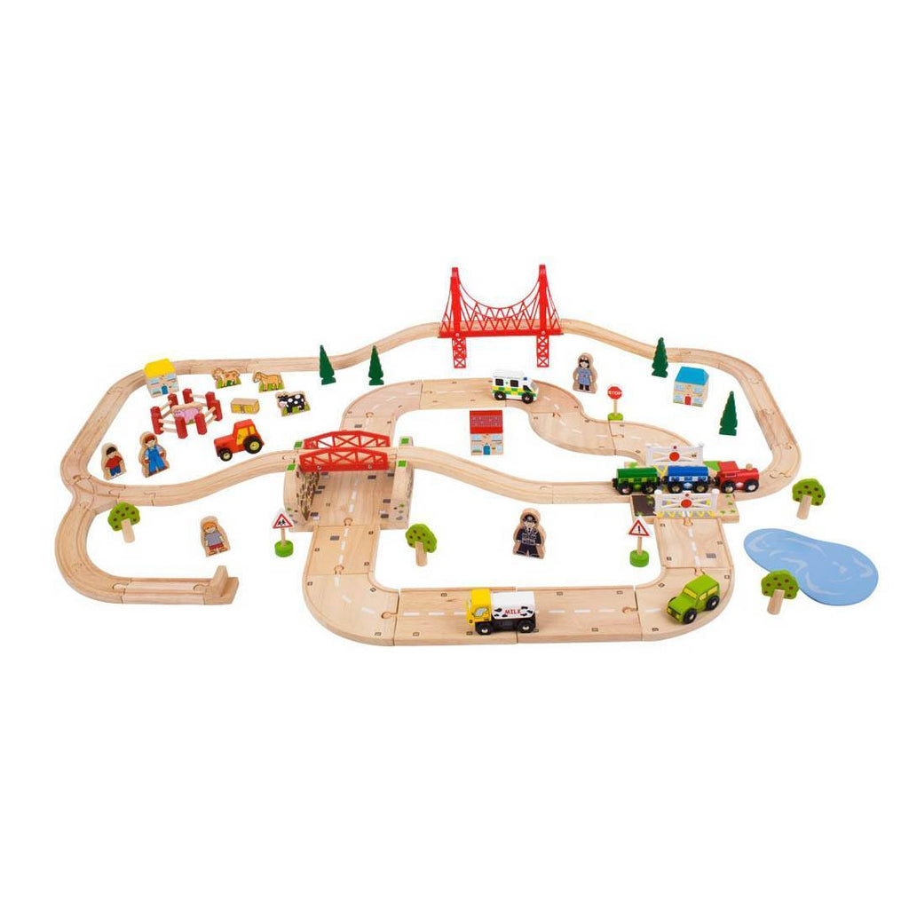 Play Sets - BigJigs Rural Road & Rail Set