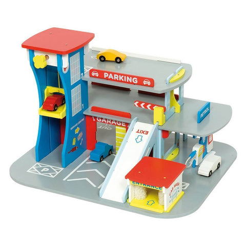 Play Sets - BigJigs Wooden City Auto Centre Play Garage