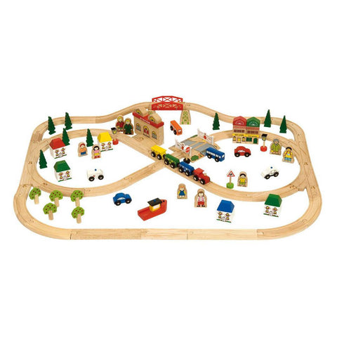 BigJigs Wooden Town & Country Train Set - Play Sets - Natural Baby Shower