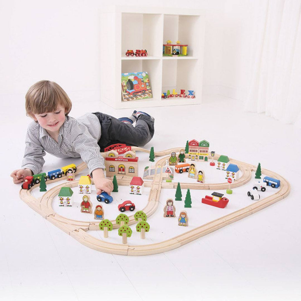BigJigs Wooden Town & Country Train Set – Natural Baby Shower