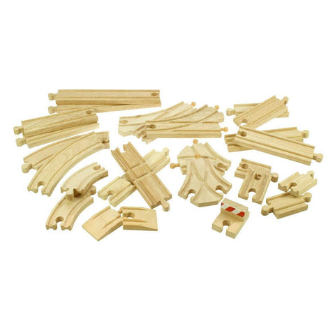 BigJigs Wooden Track Pieces - 25 Pack - Play Sets - Natural Baby Shower
