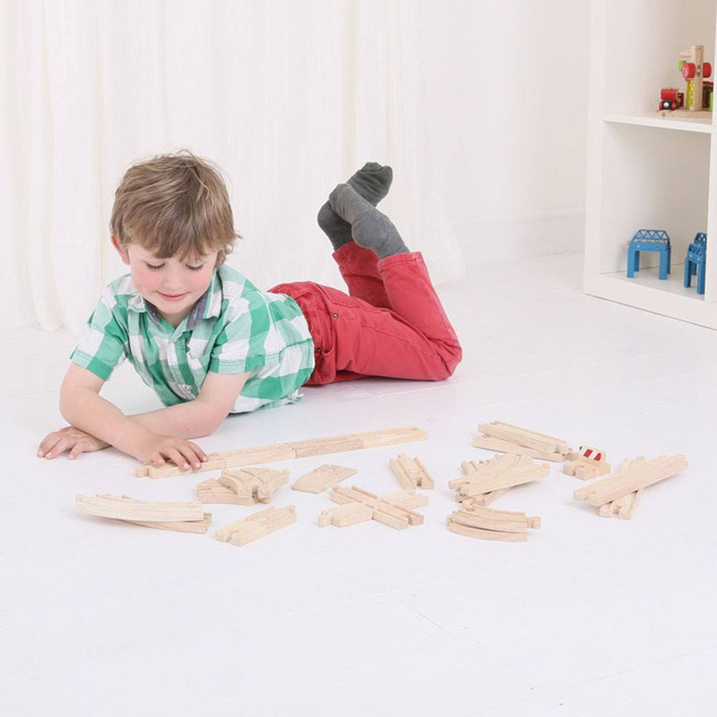 Play Sets - BigJigs Wooden Track Pieces - 25 Pack