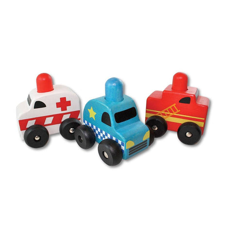 Discoveroo Squeaker Emergency Cars Set - Play Sets - Natural Baby Shower