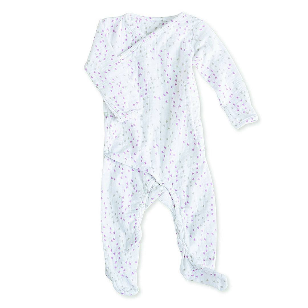 Playsuits & Rompers - Aden & Anais Muslin Long Sleeve Kimono One-Piece - Lovely Mini Hearts