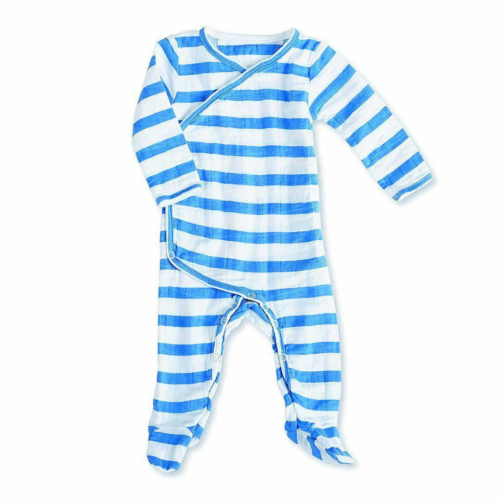 Playsuits & Rompers - Aden & Anais Muslin Long Sleeve Kimono One-Piece - Ultramarine Blazer Stripe