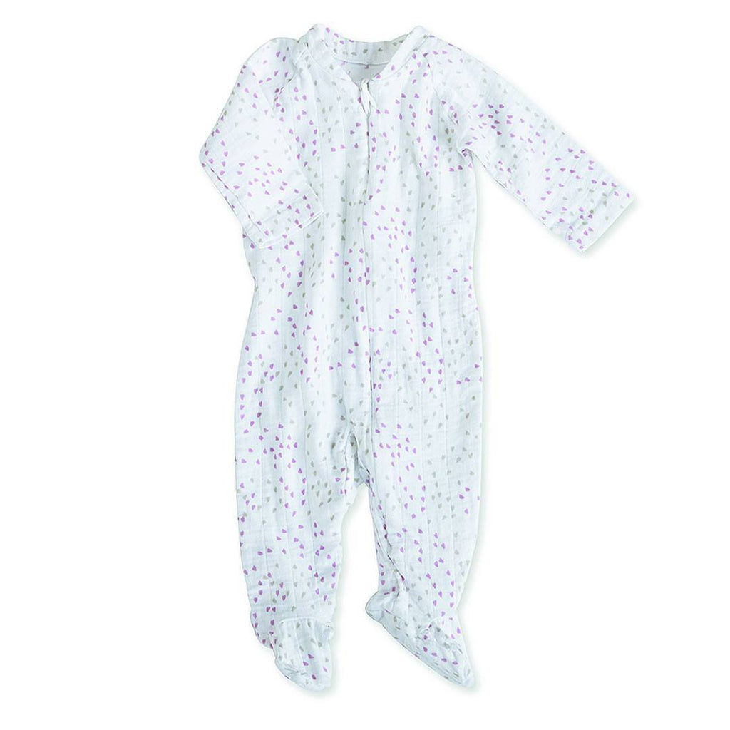 Playsuits & Rompers - Aden & Anais Muslin Long Sleeve Zip One-Piece - Lovely Mini Hearts