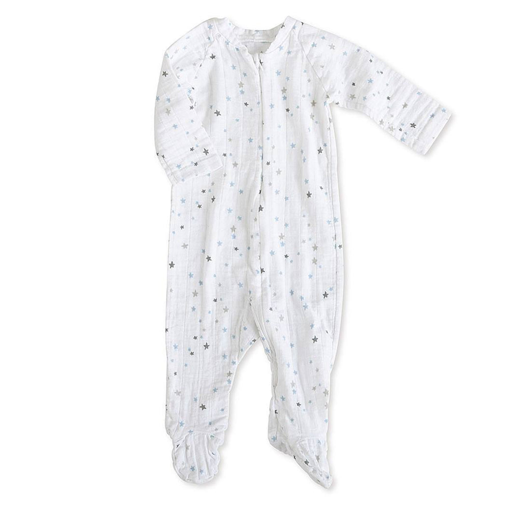 aden + anais Muslin Long Sleeve Zip One-Piece - Night Sky Starburst - Playsuits & Rompers - Natural Baby Shower