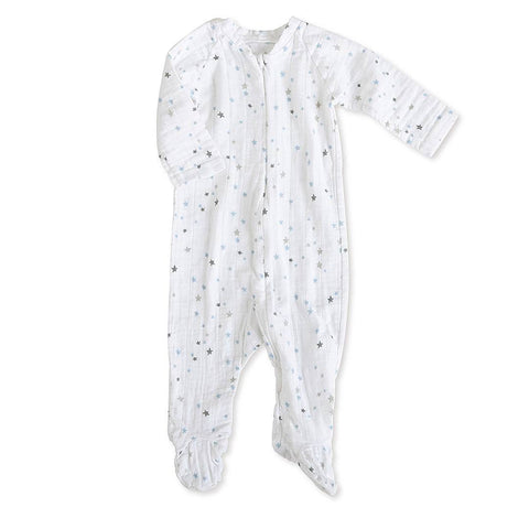 Playsuits & Rompers - Aden & Anais Muslin Long Sleeve Zip One-Piece - Night Sky Starburst