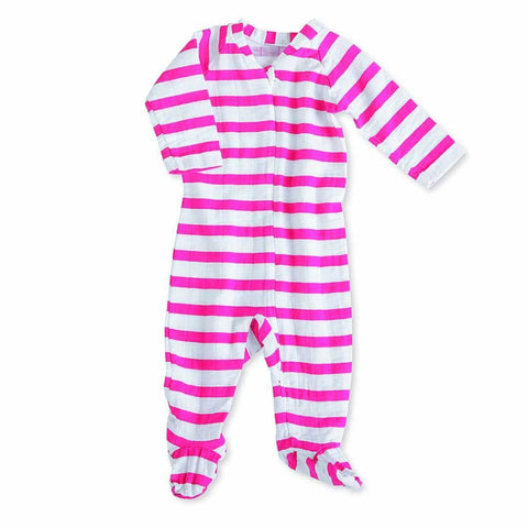 Playsuits & Rompers - Aden & Anais Muslin Long Sleeve Zip One-Piece - Pink Blazer Stripe