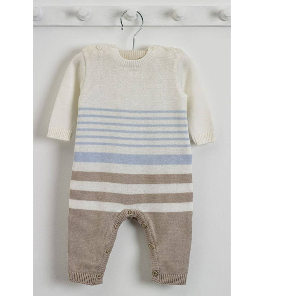 Natures Purest Striped All in One - Blue - Natures Knits - Playsuits & Rompers - Natural Baby Shower