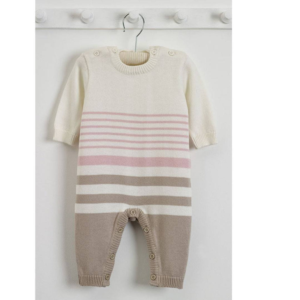 Playsuits & Rompers - Natures Purest Striped All In One - Pink - Natures Knits