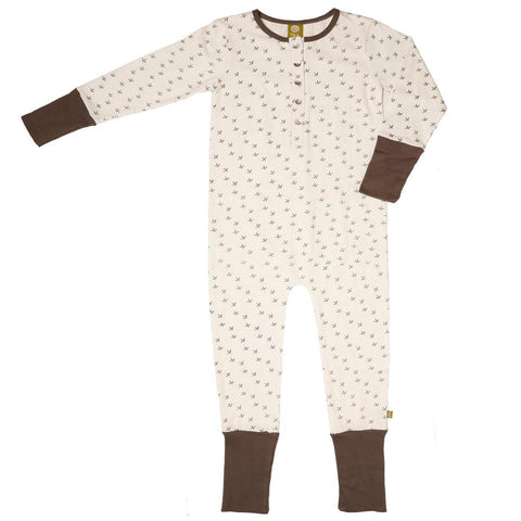 Nui Organics Pukeko Playsuit - Organic Cotton - Cream Kiwi Feet - Playsuits & Rompers - Natural Baby Shower