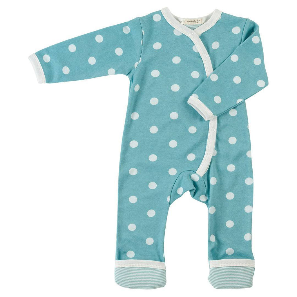 Pigeon Organics Kimono Long Romper - Spots & Stripes - Blue - Playsuits & Rompers - Natural Baby Shower