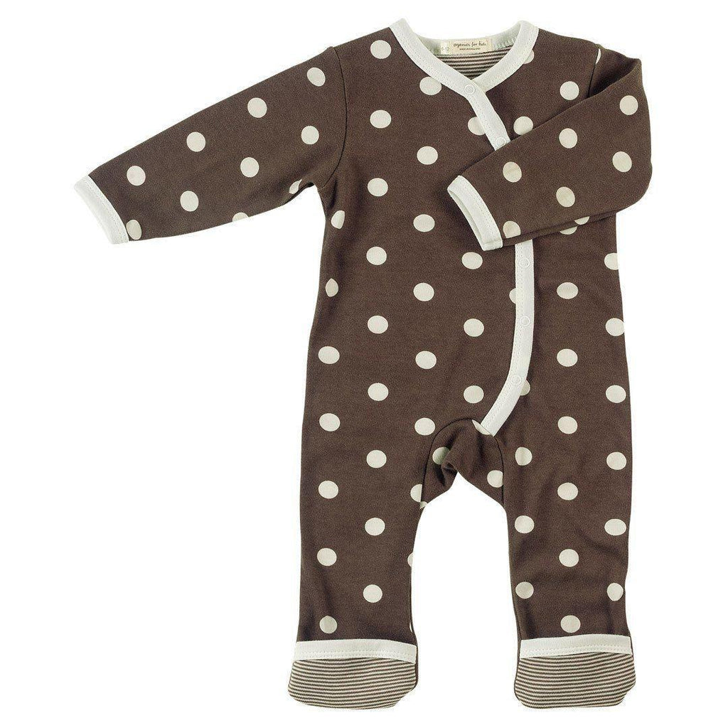 Playsuits & Rompers - Pigeon Organics Kimono Long Romper - Spots & Stripes - Brown