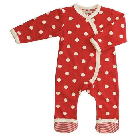 Playsuits & Rompers - Pigeon Organics Kimono Long Romper - Spots & Stripes - Red