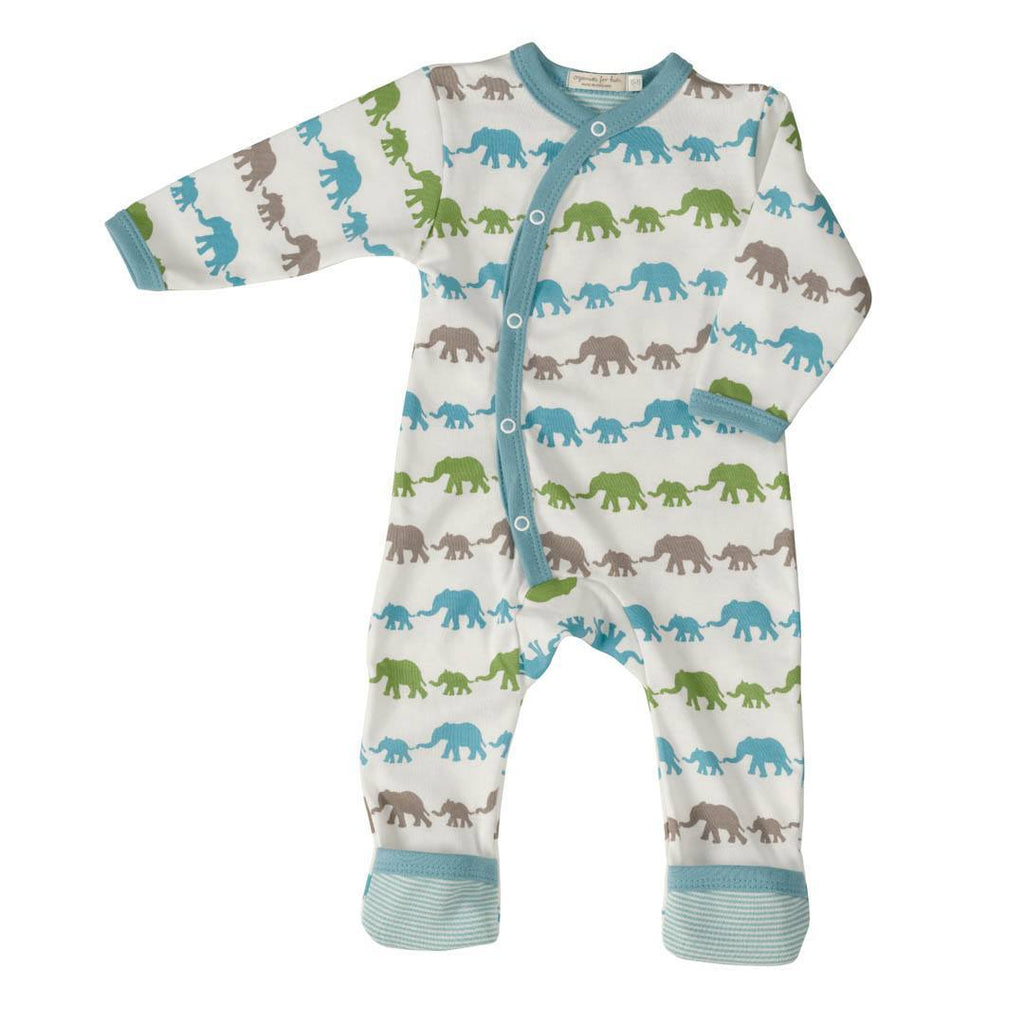 Pigeon Organics Romper - Silhouette Prints - Blue Elephant Mix - Playsuits & Rompers - Natural Baby Shower