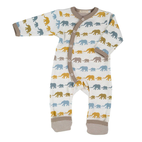 Pigeon Organics Romper - Silhouette Prints - Mustard Elephant Mix - Playsuits & Rompers - Natural Baby Shower