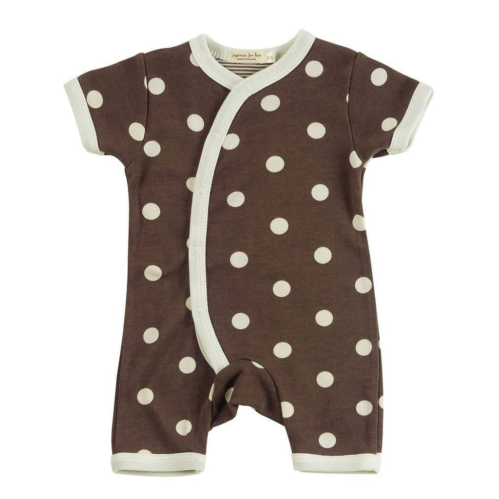 Playsuits & Rompers - Pigeon Organics Short Kimono Romper - Spots & Stripes - Brown
