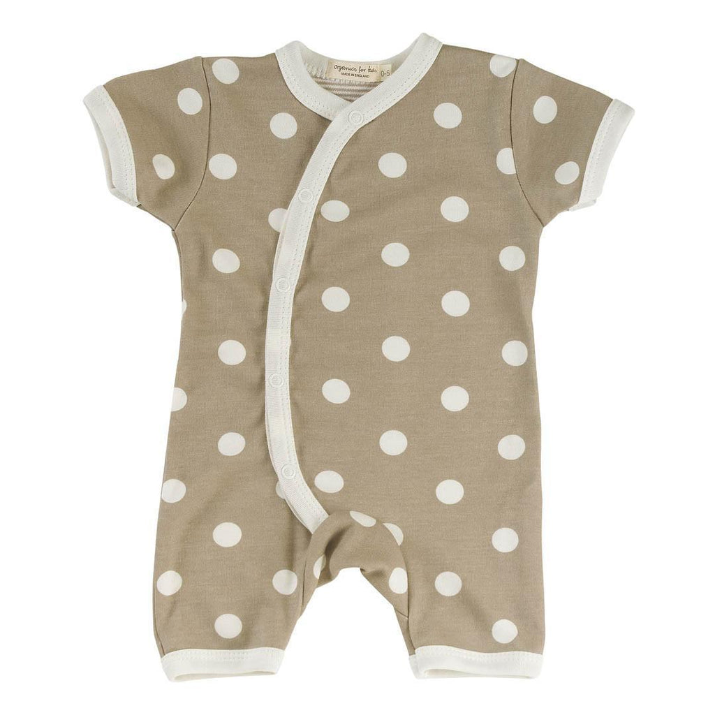 Playsuits & Rompers - Pigeon Organics Short Kimono Romper - Spots & Stripes - Taupe