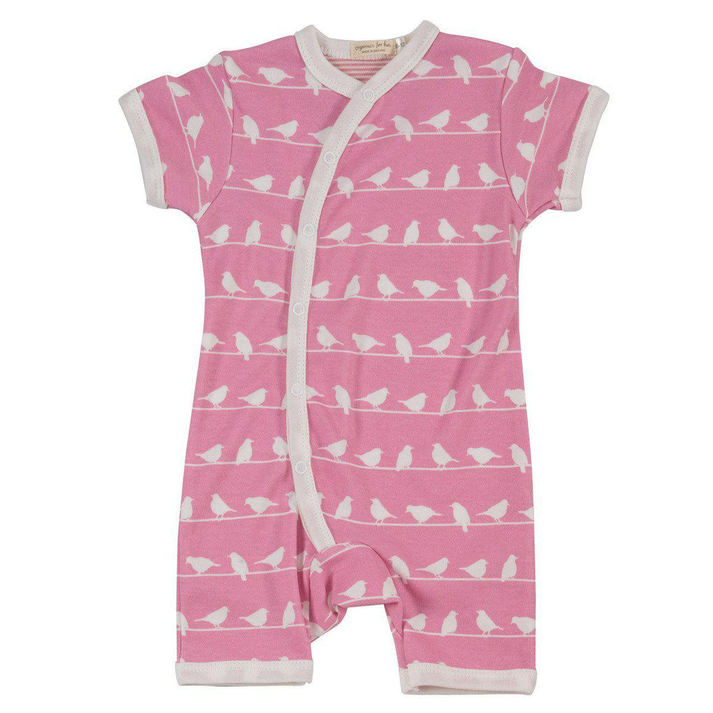 Playsuits & Rompers - Pigeon Organics Short Romper - Silhouette Prints - Pink Birds