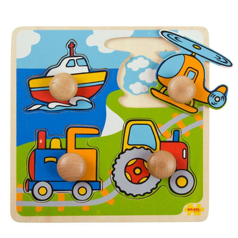 BigJigs My First Peg Puzzle - Transport-Puzzles-Default- Natural Baby Shower