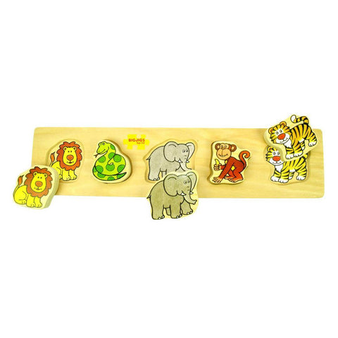 BigJigs Wooden Chunky Jigsaw - Jungle - Puzzles - Natural Baby Shower
