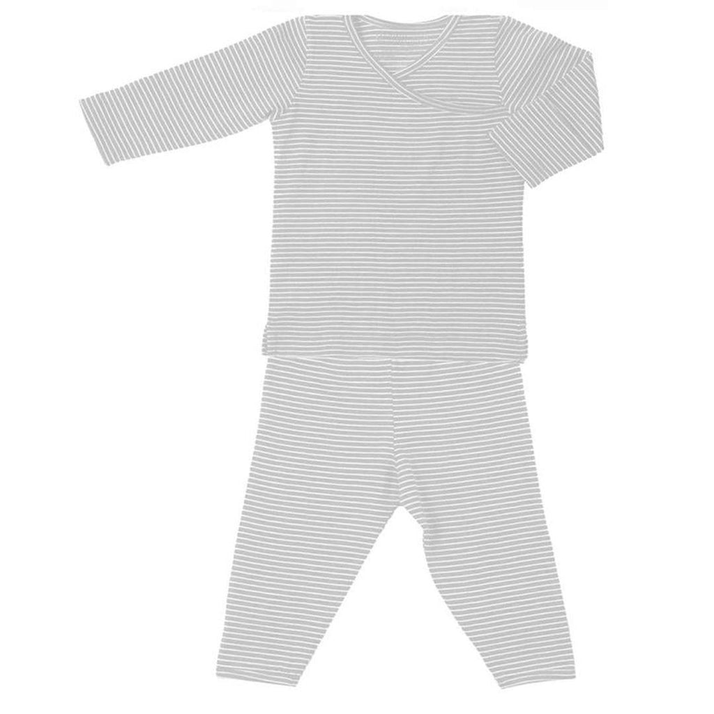 Pyjamas - Merino Kids Pyjamas - Dove Grey Stripe