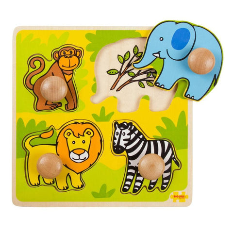 BigJigs My First Peg Puzzle - Safari-Puzzles-Default- Natural Baby Shower