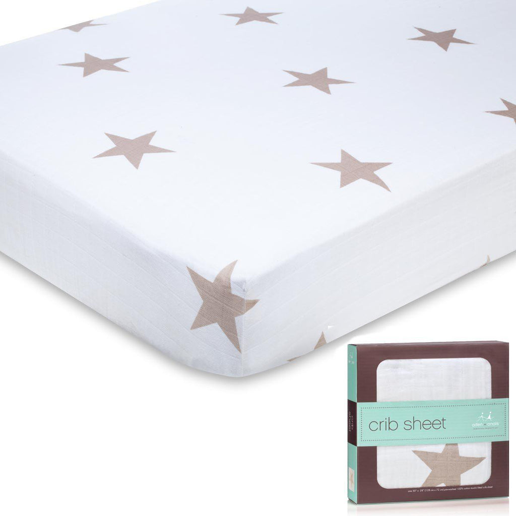 Sheets - Aden & Anais Cot Sheet - Super Star Scout - Fawn Stars