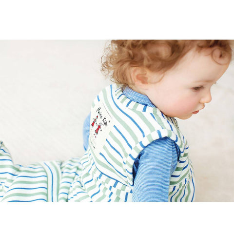 Merino Kids Go Go Toddler Sleeping Bag - Duvet Weight - Banbury & Mint-Sleeping Bags-Toddler-Banbury Stripe- Natural Baby Shower