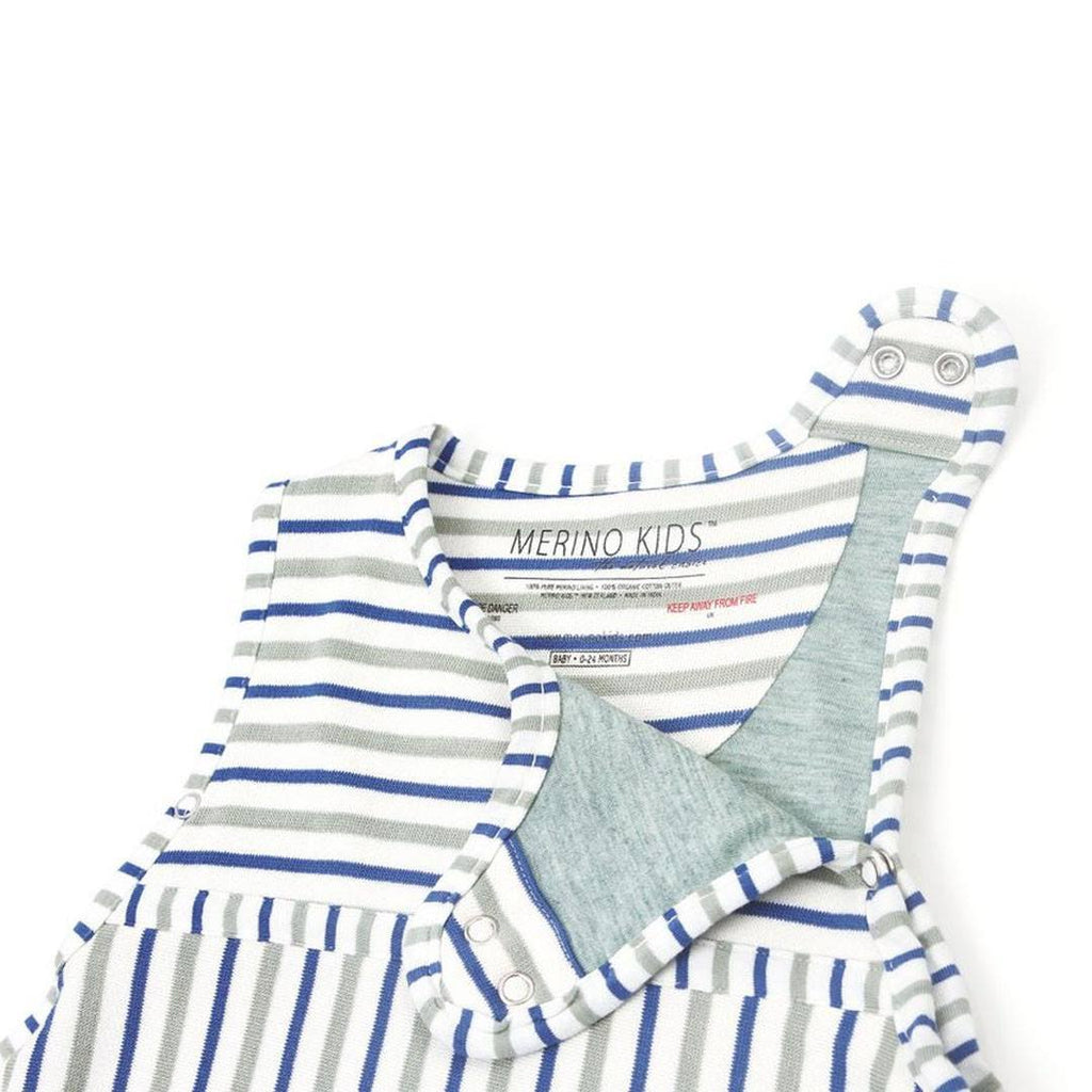 Merino Kids Go Go Baby Sleeping Bag - Duvet Weight - Banbury & Mint-Sleeping Bags-Baby-Banbury Stripe- Natural Baby Shower