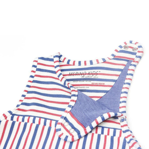 Merino Kids Go Go Toddler Sleeping Bag - Duvet Weight - Banbury & Raspberry-Sleeping Bags-2-4y-Banbury Stripe- Natural Baby Shower