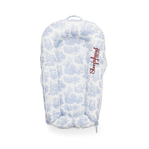 Sleepyhead Deluxe+ Spare Cover - Toile de Jouy Dusty Blue-Baby Nest Covers- Natural Baby Shower