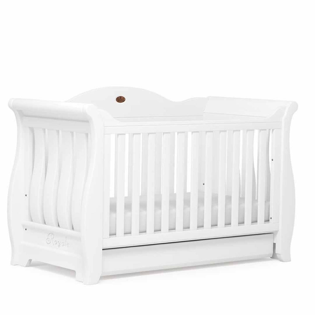 Boori Sleigh Royale 2 Piece Nursery Set Cot - White