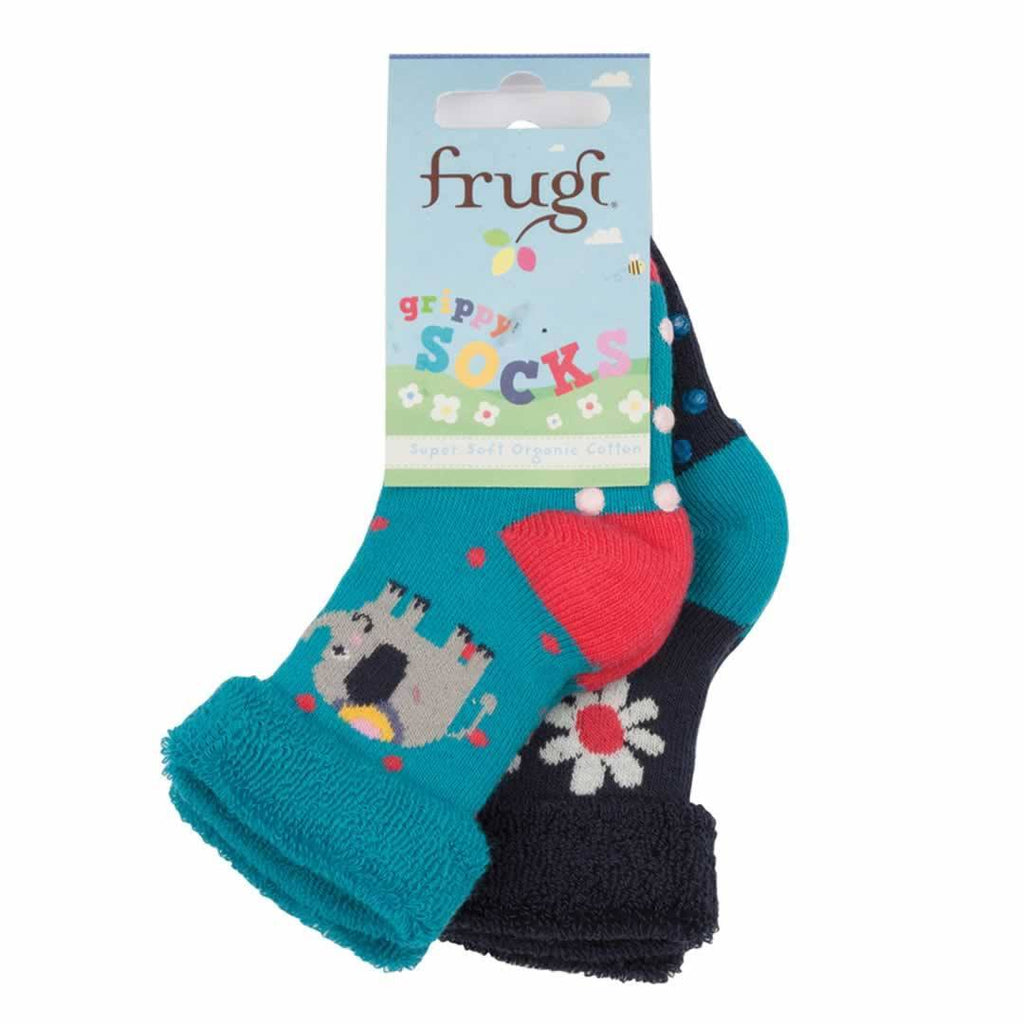 Socks & Tights - Frugi Grippy Socks - Elephant - 2 Pack