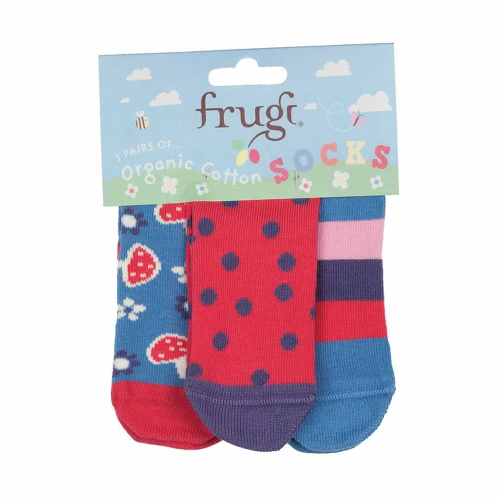 Frugi Socks - Mushrooms - 3 Pack - Socks & Tights - Natural Baby Shower
