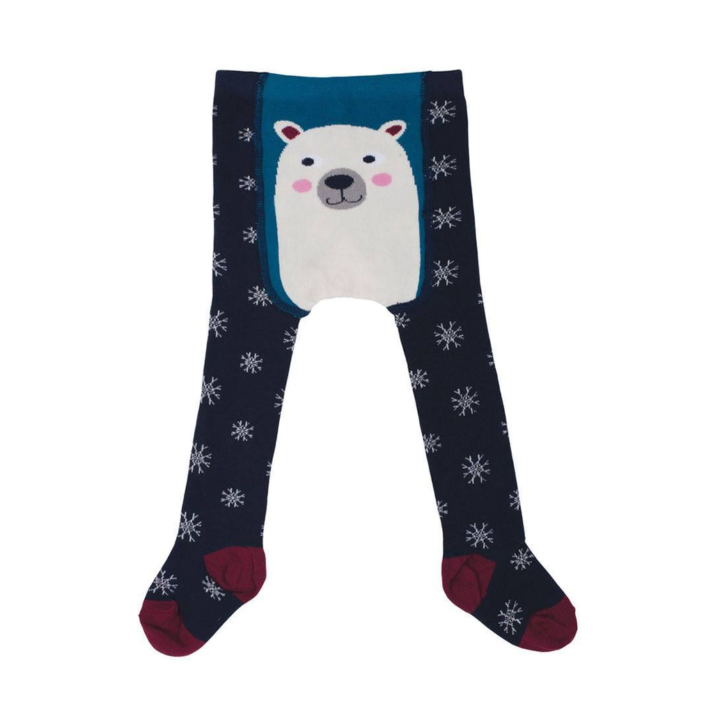 Socks & Tights - Frugi Tiggy Tights - Navy Snowflakes/Polar Bear