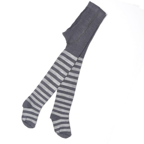 Socks & Tights - Nui Organics Merino Tights - Silver & Charcoal