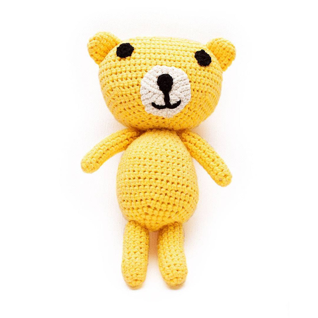 Ana Gibb Knitted Amigurumi Teddy Bear - Yellow - Soft Toys - Natural Baby Shower