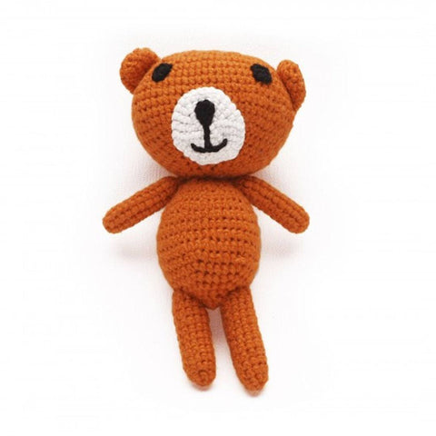 Ana Gibb Knitted Amigurumi Teddy Bear - Orange - Soft Toys - Natural Baby Shower
