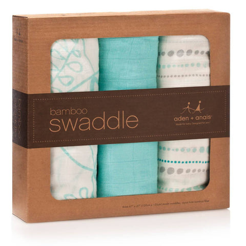 aden + anais Bamboo Swaddles - Azure - 3 Pack-Swaddling Wraps-Default- Natural Baby Shower
