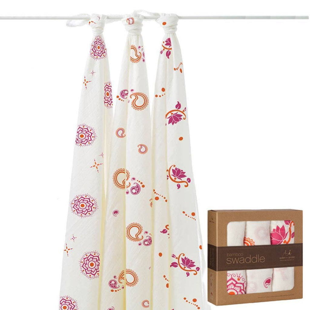 aden + anais Bamboo Swaddles - Pyara - 3 Pack - Swaddling Wraps - Natural Baby Shower