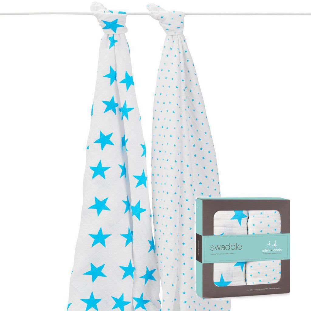 Swaddling Wraps - Aden & Anais Muslin Swaddles - Fluro-Blue - 2 Pack