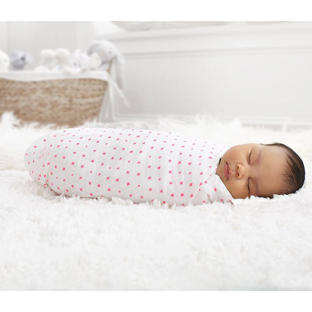 Swaddling Wraps - Aden & Anais Muslin Swaddles - Fluro-Pink - 2 Pack