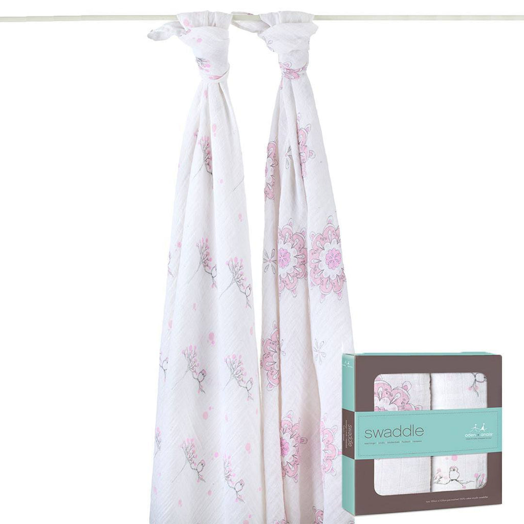 Swaddling Wraps - Aden & Anais Muslin Swaddles - For The Birds - Owls & Medallions - 2 Pack