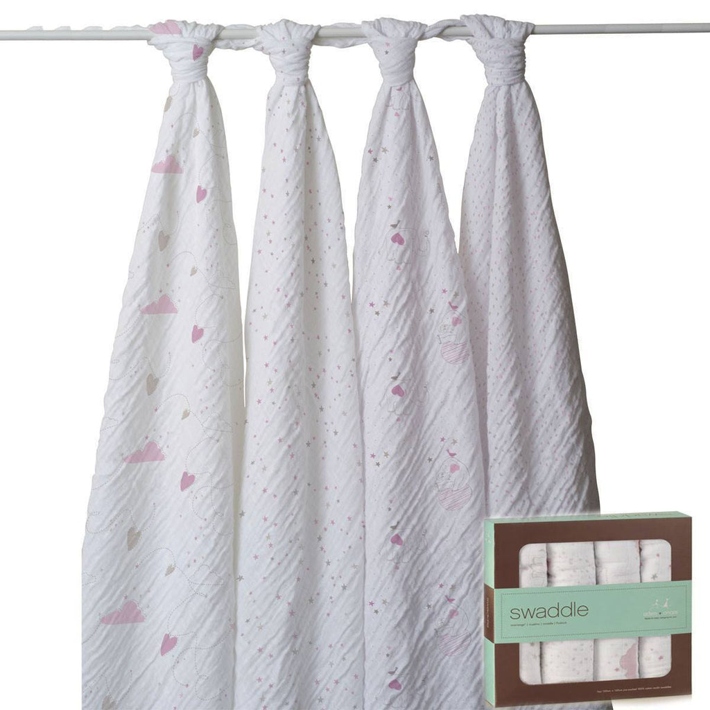 aden + anais Muslin Swaddles - Lovely - 4 Pack - Swaddling Wraps - Natural Baby Shower